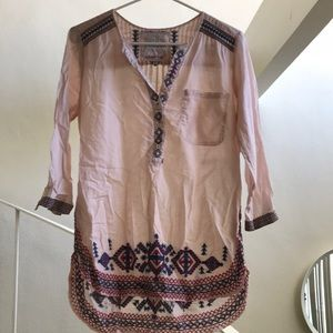 Johnny Was pink tunic with embroidery